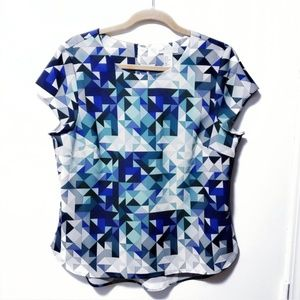 H&M  Abstract Design Short Sleeve Size 14 Top